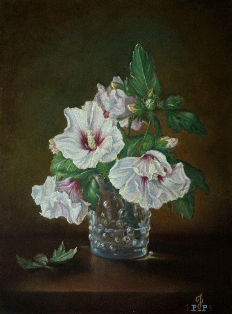 Bloemstilleven-Hibiscus-formaat-40-x-30-cm-olieverf-op-paneel-EWMB-2-24122015iwk-copyright-Janny-Pieck-Plantinga